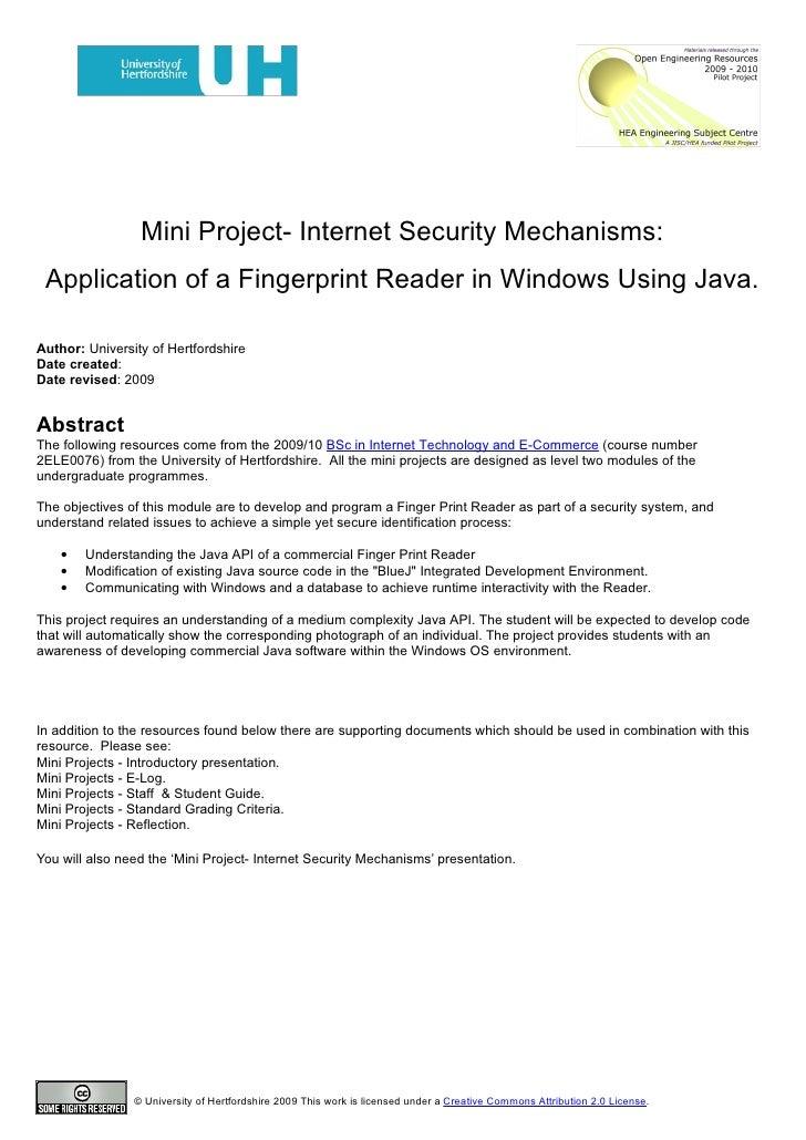 Mini Project- Internet Security Mechanisms:  Application of a Fingerprint Reader in Windows Using Java.  Author: Universit...