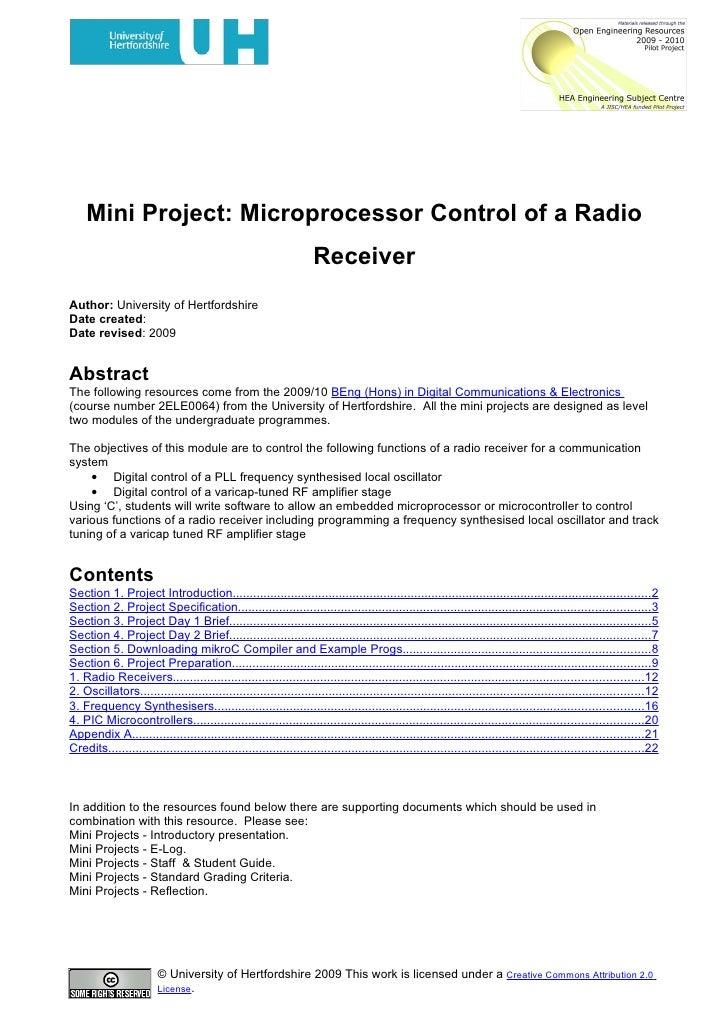 Mini Project- Microprocessor Control Of A Radio Receiver
