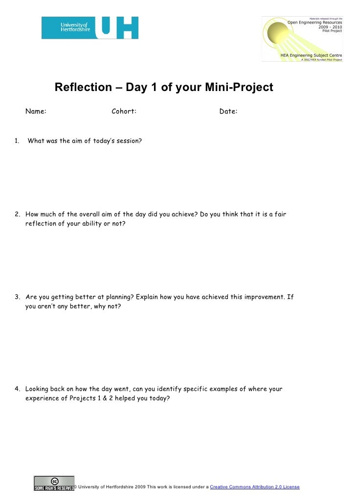 project reflection example