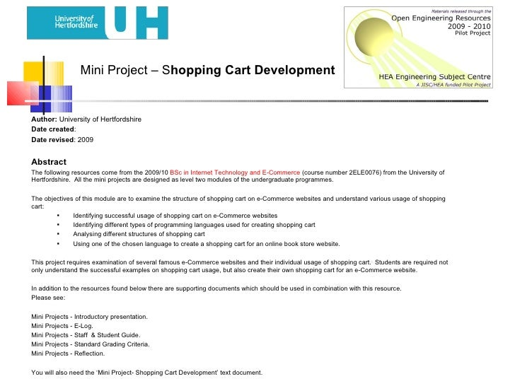 Mini Project – S hopping Cart Development <ul><li>Author:  University of Hertfordshire </li></ul><ul><li>Date created : </...