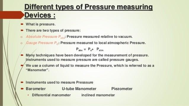 Types Of Measuring Devices : Fluid mechanics
