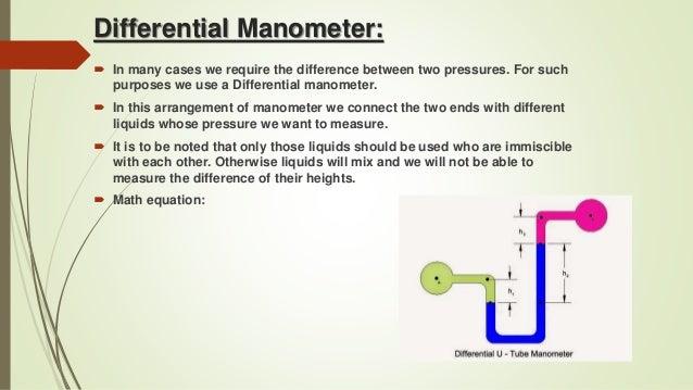 differential manometer. differential manometer: manometer i