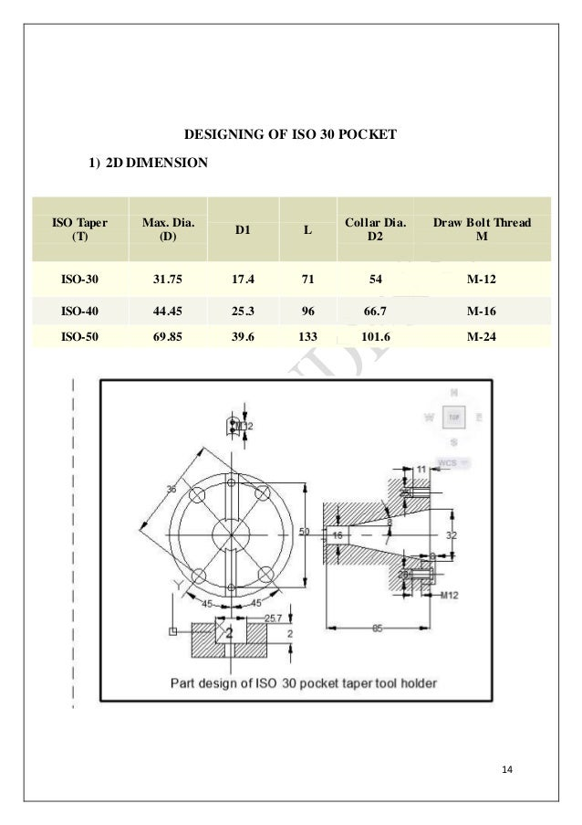 Design And Manufacturing Of Iso 30 Tool Pocket By Using