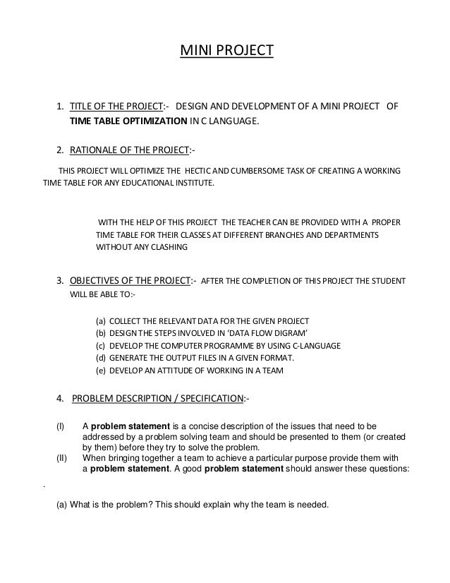 front page format for project report
