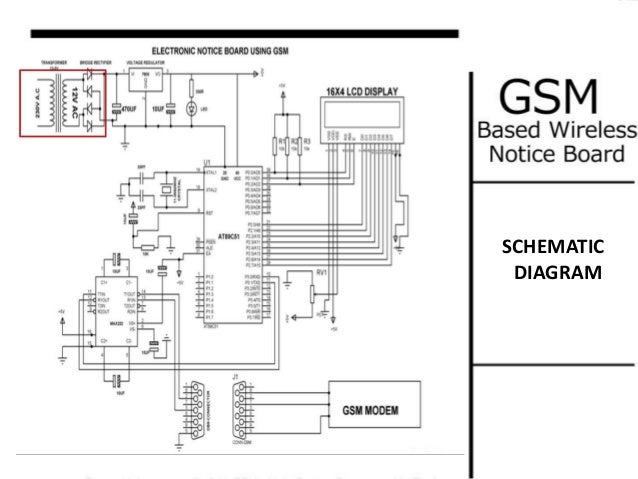 circuit diagram of sms based enotice board When a user wants to display a notice/message on the notice board, user will send sms f gsm notice board i have wired the circuit as per the diagram.