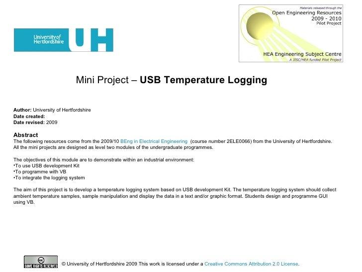 Mini Project –  USB Temperature Logging   <ul><li>Author:  University of Hertfordshire </li></ul><ul><li>Date created: </l...