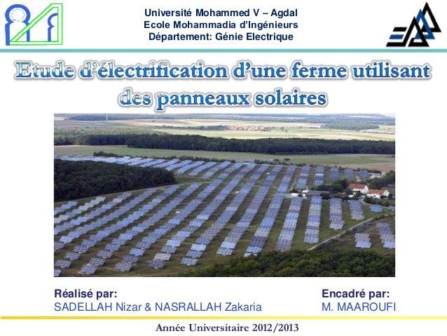Université Mohammed V – Agdal              Ecole Mohammadia d'Ingénieurs               Département: Génie ElectriqueRéalis...