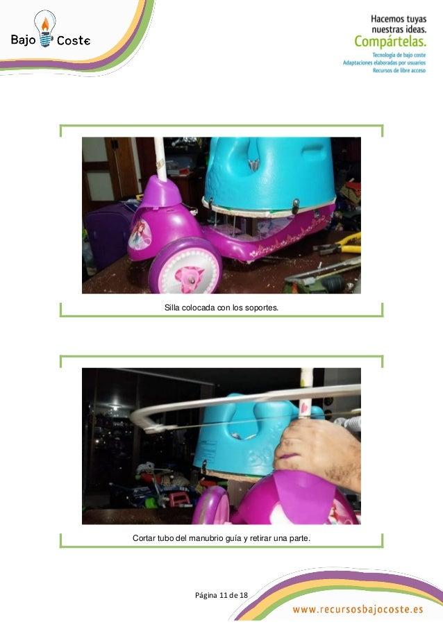 P�gina 11 de 18 P�gina 11 de 18 Silla colocada con los soportes. Cortar tubo del manubrio gu�a y retirar una parte.