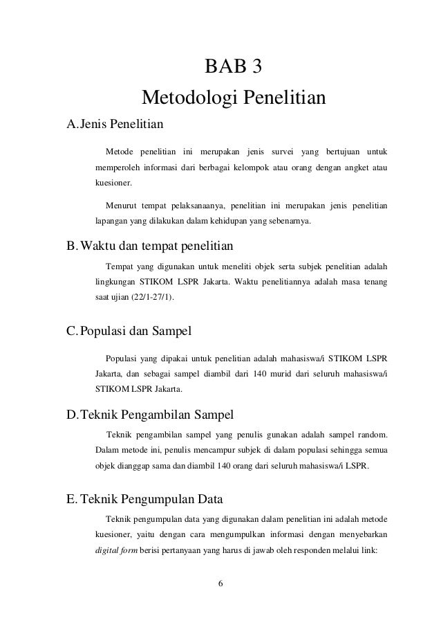 Contoh Soal Dan Materi Pelajaran 2 Contoh Tesis Bab 3 Metodologi Kajian