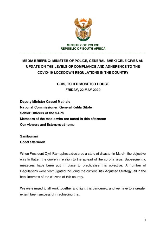 1 MINISTRY OF POLICE REPUBLIC OF SOUTH AFRICA ____________________________________________________________________________...