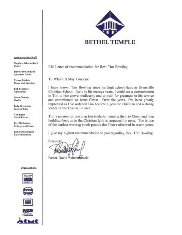 free recommendation letter for pastor the works of