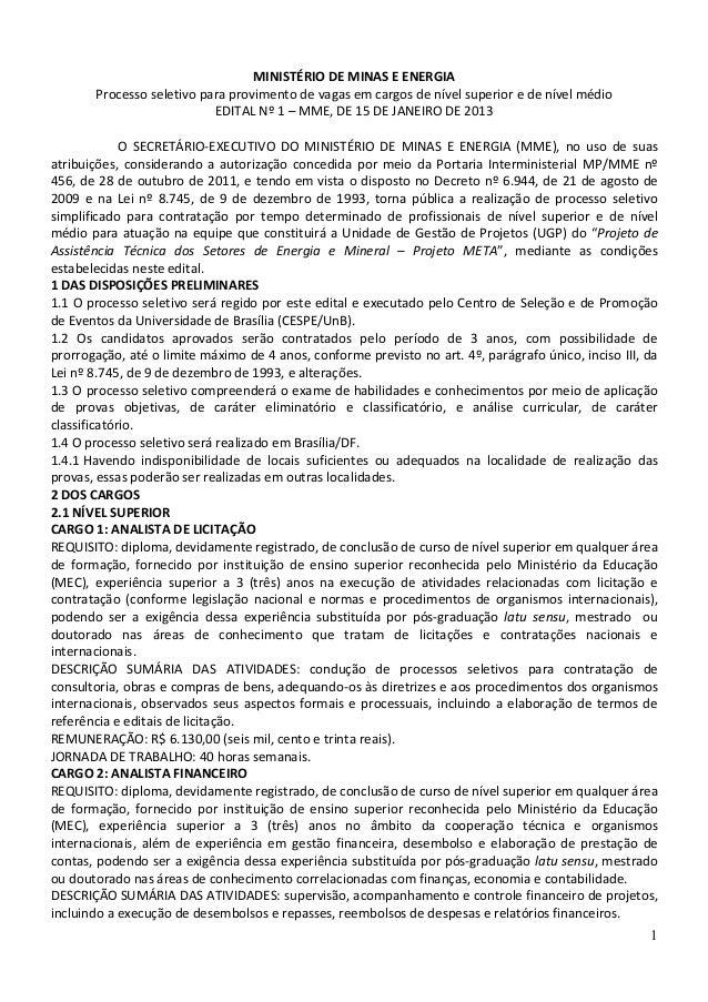 MINISTÉRIO DE MINAS E ENERGIA       Processo seletivo para provimento de vagas em cargos de nível superior e de nível médi...