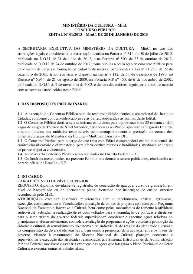 MINISTÉRIO DA CULTURA – MinC                                CONCURSO PÚBLICO                   EDITAL Nº 01/2013 – MinC, D...
