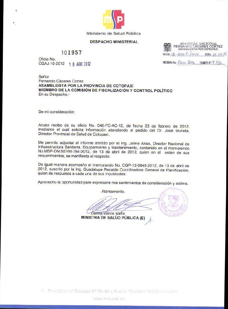 Solicitud de informaci n y respuesta ministerio de salud for Certificado ministerio del interior