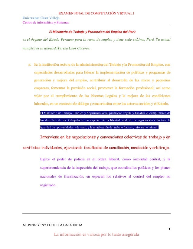 EXAMEN FINAL DE COMPUTACIÓN VIRTUAL I Universidad César Vallejo Centro de informática y Sistemas ALUMNA: YENY PORTILLA GAL...