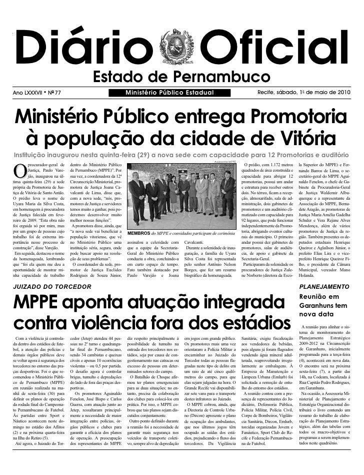 Diário Oficial                                 Estado de Pernambuco Ano LXXXVII       l   NO 77                           ...