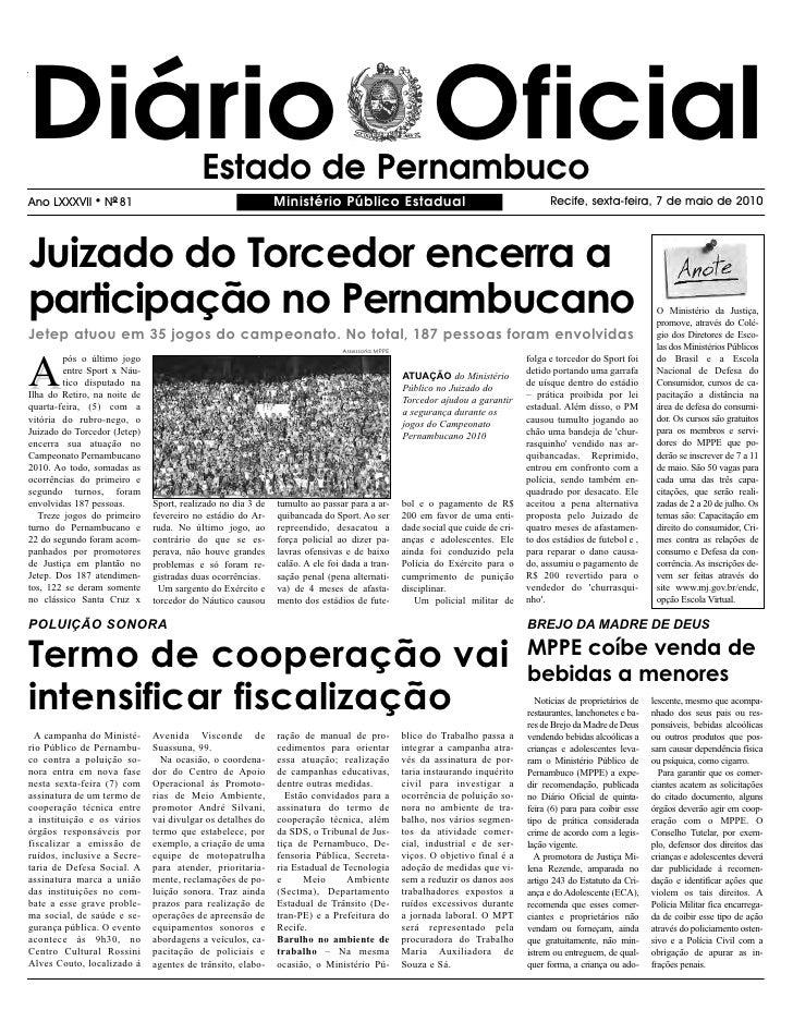 Diário Oficial                            Estado de Pernambuco Ano LXXXVII     l   NO 81                                  ...