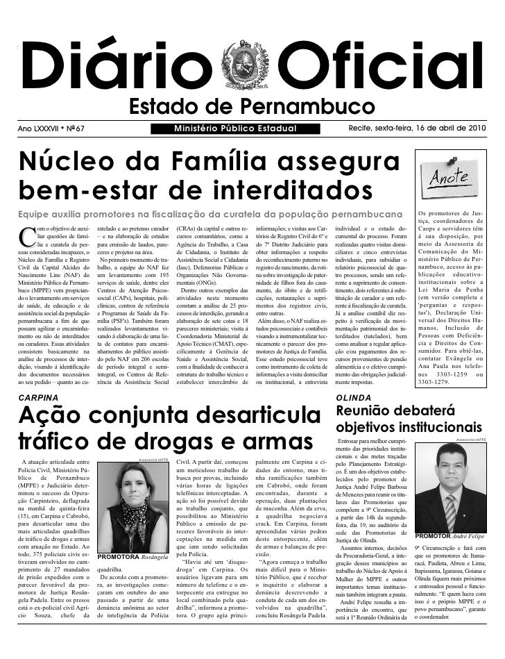 Diário Oficial                                 Estado de Pernambuco Ano LXXXVII       l   NO 67                           ...