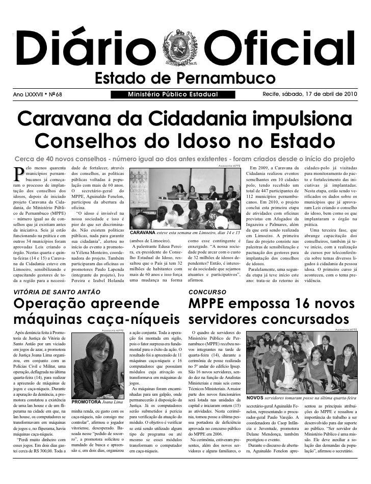 Diário Oficial                                  Estado de Pernambuco Ano LXXXVII        l   NO 68                         ...