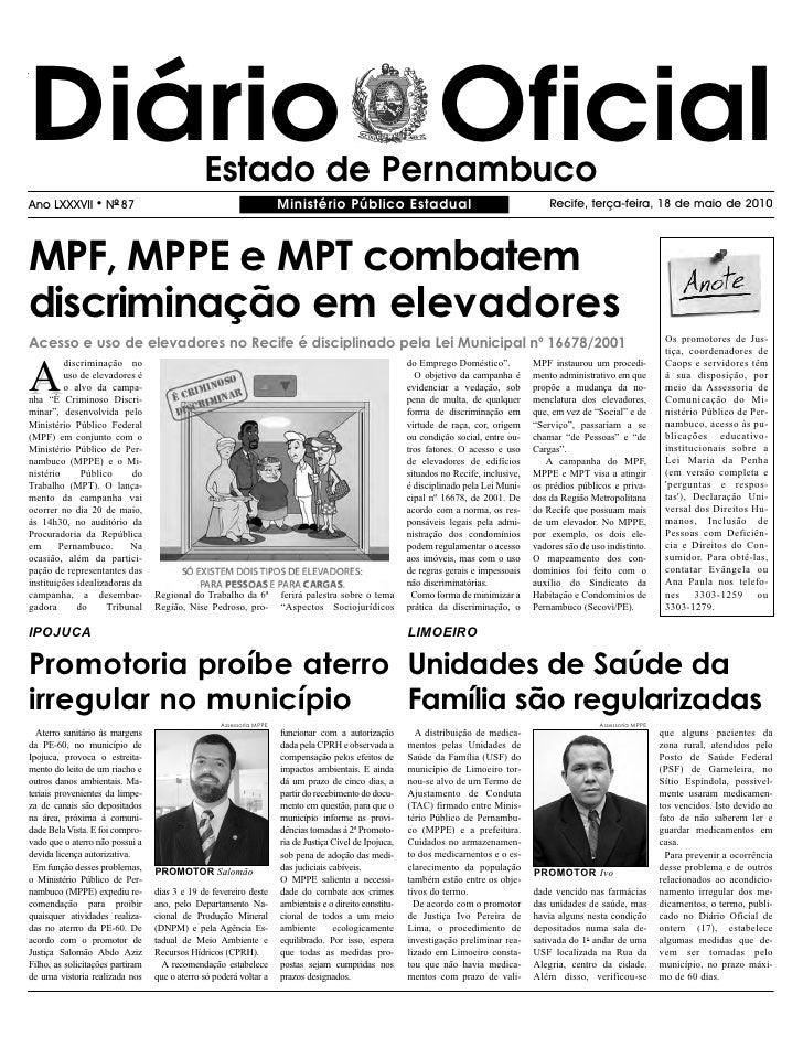 Diário Oficial                                 Estado de Pernambuco Ano LXXXVII       l   NO 87                           ...