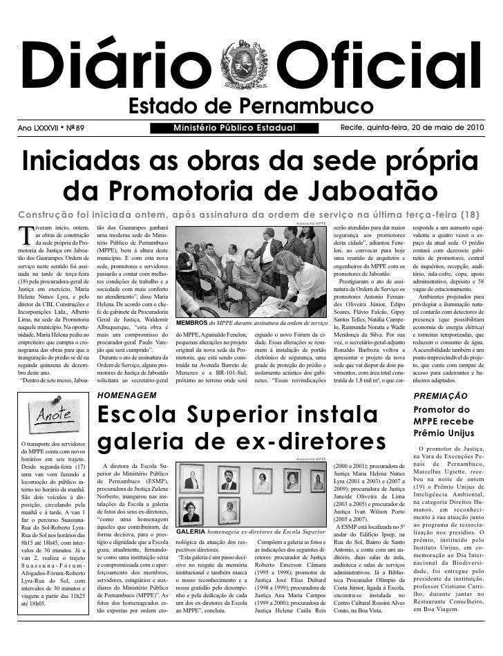 Diário Oficial                                 Estado de Pernambuco Ano LXXXVII       l   NO 89                           ...