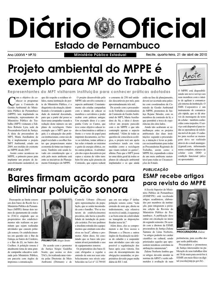 Diário Oficial                                 Estado de Pernambuco Ano LXXXVII      l   NO 70                            ...