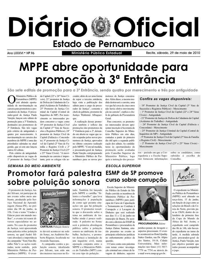 Diário Oficial                                 Estado de Pernambuco Ano LXXXVI       l   NO 96                            ...