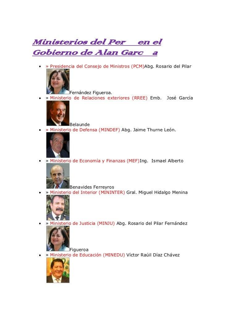 Ministerios del Perú en el Gobierno de Alan García<br />»Presidencia del Consejo de Ministros (PCM)Abg. Rosario del Pilar...