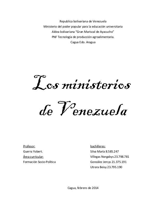 "Republica bolivariana de Venezuela Ministerio del poder popular para la educación universitaria Aldea bolivariana ""Gran Ma..."