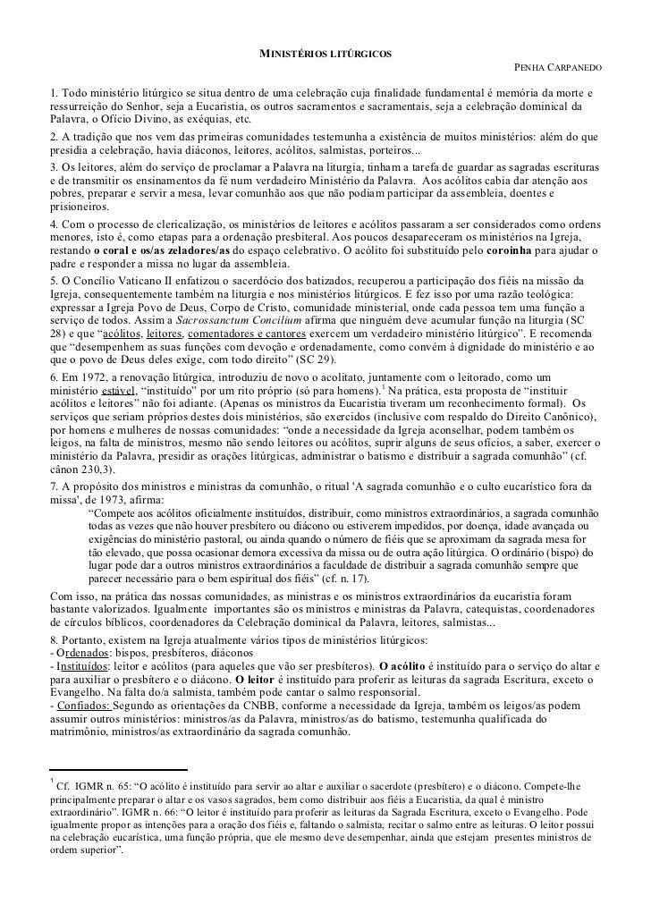 MINISTÉRIOS LITÚRGICOS                                                                                                    ...
