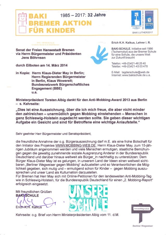 ffiä Ministerpräsident Torsten Albig dankt für den Anti-Mobbing-Award 2013 aus Berlin - s. Kehrseite: ,,Dies ist eine Ausz...
