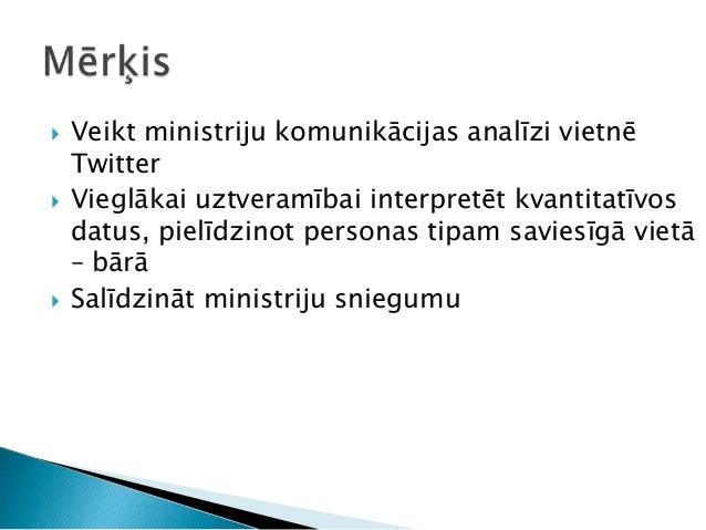  Veikt ministriju komunikācijas analīzi vietnē Twitter  Vieglākai uztveramībai interpretēt kvantitatīvos datus, pielīdzi...