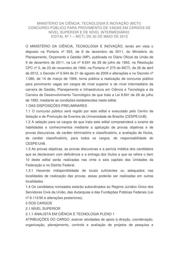 MINISTÉRIO DA CIÊNCIA, TECNOLOGIA E INOVAÇÃO (MCTI) CONCURSO PÚBLICO PARA PROVIMENTO DE VAGAS EM CARGOS DE          NÍVEL ...