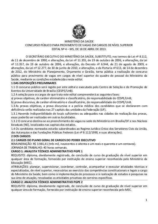 1 MINISTÉRIO DA SAÚDE CONCURSO PÚBLICO PARA PROVIMENTO DE VAGAS EM CARGOS DE NÍVEL SUPERIOR EDITAL Nº 4 – MS, DE 18 DE ABR...