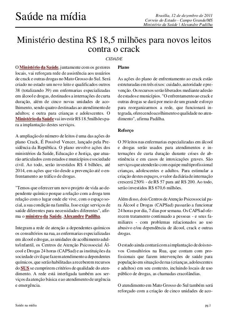 Saúde na mídia                                                                 Brasília, 12 de dezembro de 2011           ...