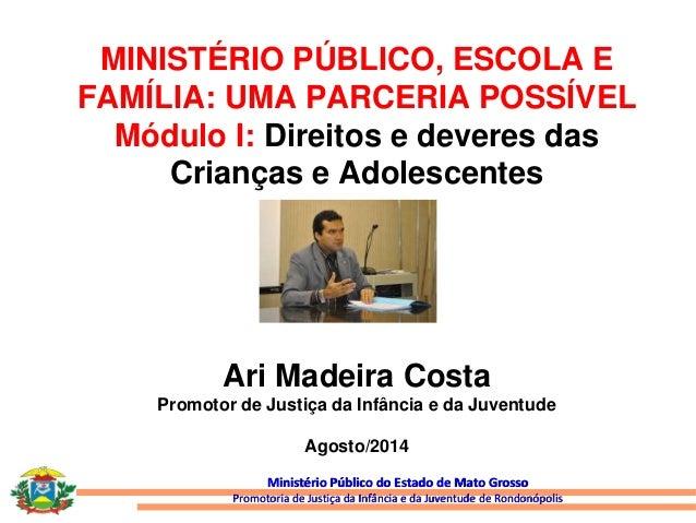 MINISTÉRIO PÚBLICO, ESCOLA E  FAMÍLIA: UMA PARCERIA POSSÍVEL  Módulo I: Direitos e deveres das  Crianças e Adolescentes  A...