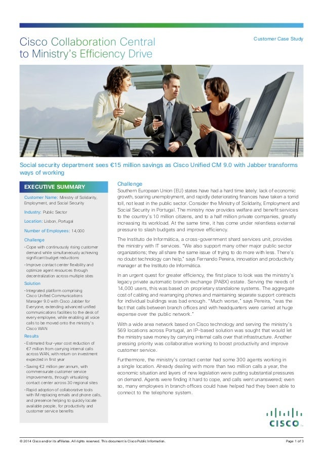 Cisco Collaboration Central to Ministry's Efficiency Drive  Customer Case Study  Social security department sees €15 milli...