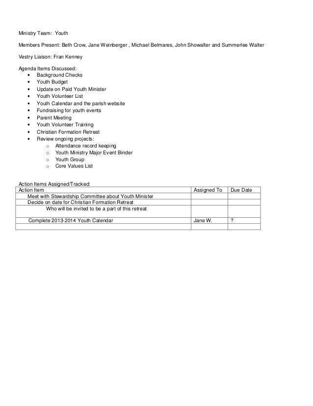 ministry teams meeting minutes april 2013