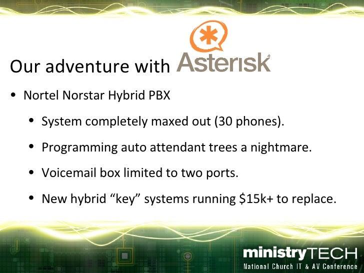 <ul><li>Our adventure with  </li></ul><ul><li>Nortel Norstar Hybrid PBX </li></ul><ul><ul><li>System completely maxed out ...