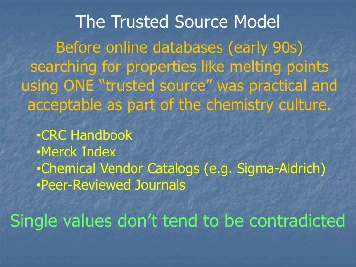 """The Trusted Source Model<br />Before online databases (early 90s) searching for properties like melting points using ONE """"..."""