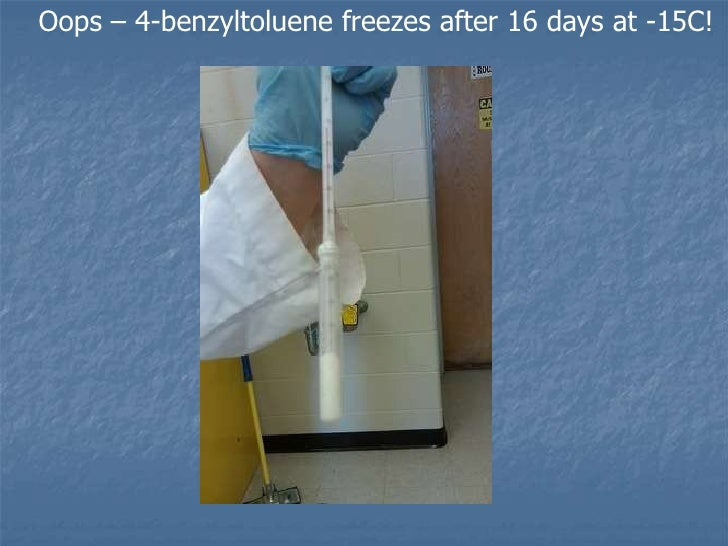 Open Lab Notebook page measuring the melting point of 4-benzyltoluene<br />
