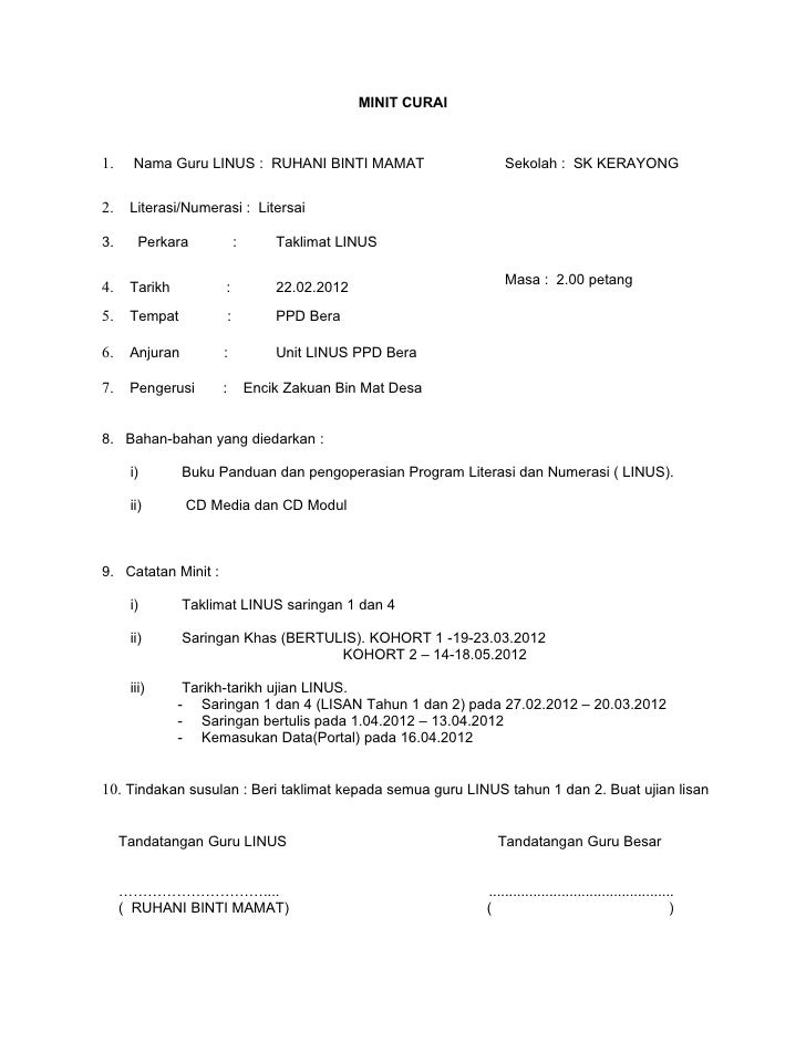 MINIT CURAI1.    Nama Guru LINUS : RUHANI BINTI MAMAT                          Sekolah : SK KERAYONG2.    Literasi/Numeras...