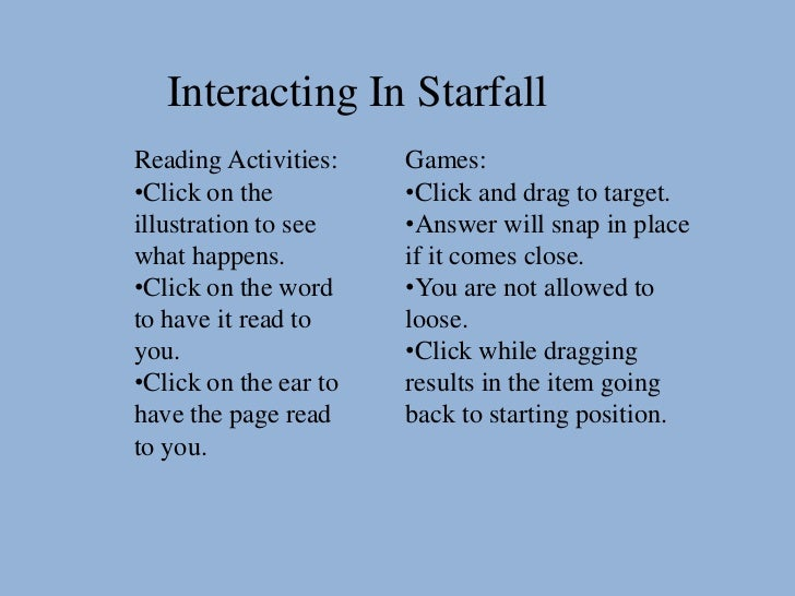 Interacting In StarfallReading Activities:    Games:•Click on the          •Click and drag to target.illustration to see  ...