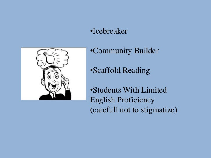 •Icebreaker•Community Builder•Scaffold Reading•Students With LimitedEnglish Proficiency(carefull not to stigmatize)