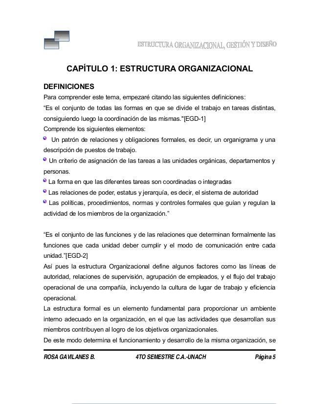 CAPÍTULO 1: ESTRUCTURA ORGANIZACIONAL DEFINICIONES Para comprender este tema, empezaré citando las siguientes definiciones...