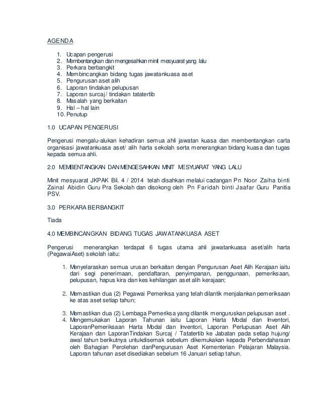 Minit Mesyuarat Jawatankuasa Aset 1 2015