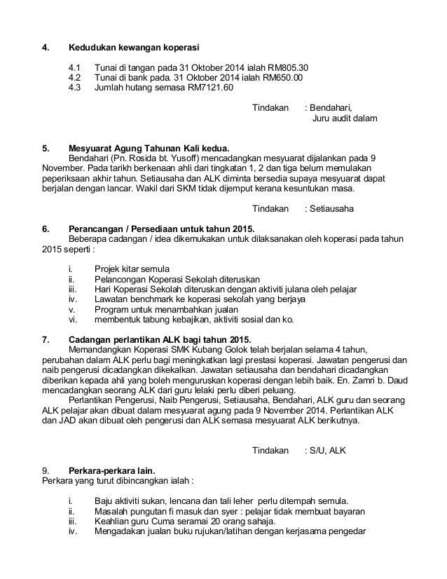 Minit Mesyuarat Lembaga Koperasi K1 2014