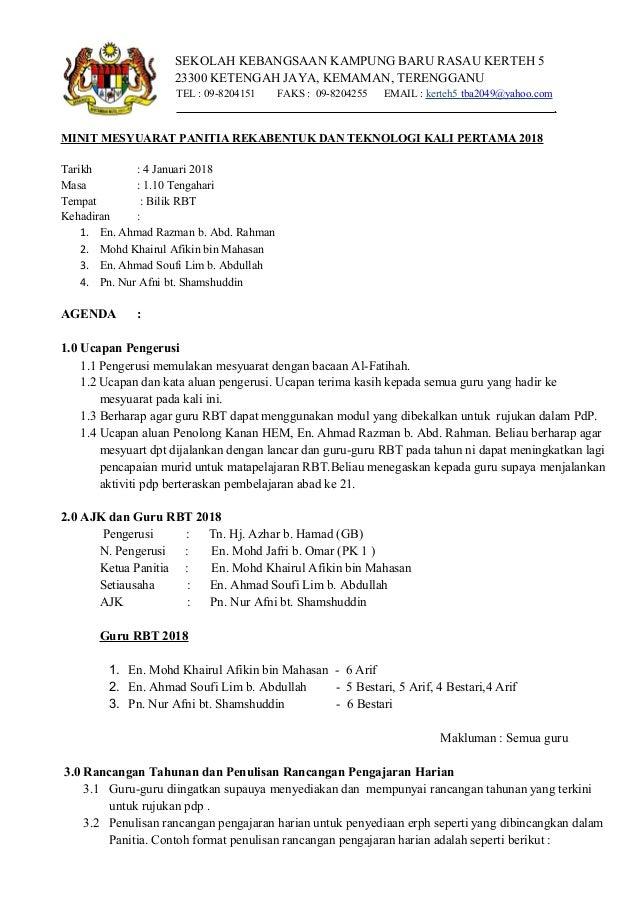 Minit Mesyuarat Panitia Rbt Kali Pertama 2018