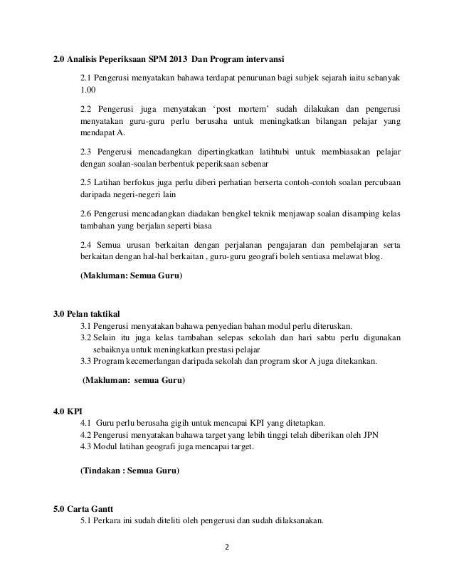 Minit Mesyuarat Panitia Sejarah 2 2013