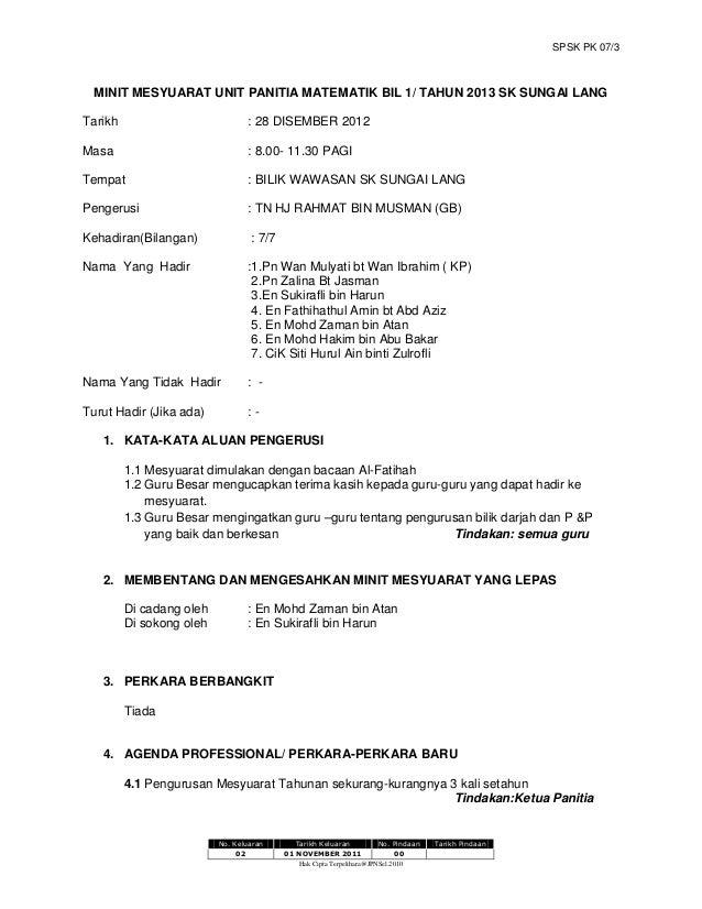 Minit Mesyuarat Unit Panitia Matematik Bil 1 2013